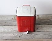 Vintage Industrial Red Peddle Waste Bin Magikan