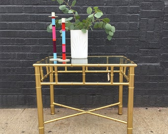 Gold Faux Bamboo Side Table (Pair Available)