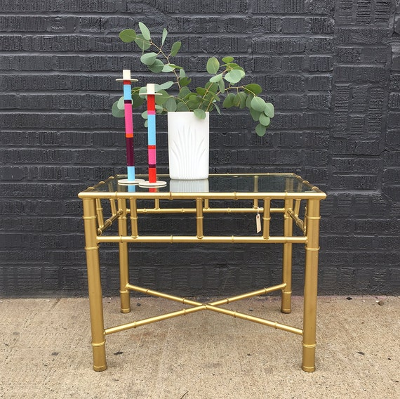 Bamboo Gold Table: Gold Faux Bamboo Side Table Pair Available By