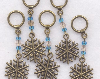 Snowflake Knitting Stitch Markers Snowflakes Snow Sparkle Blue Set of 5 /SM09B