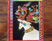 "Deer Birds Iron On Fabric Applique 6"""