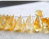 Clearance SALE Citrine Gemstone Briolette AAA Golden Yellow Faceted Tear Drop 15.5 to 16mm 3 beads