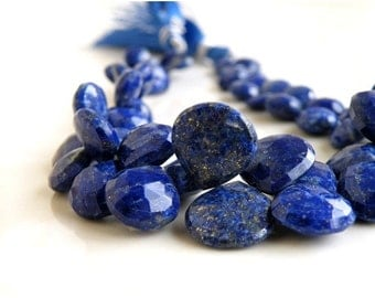 51% Off Sale Lapis Briolette Gemstone Faceted Heart Top Drilled 7.5mm 20 beads
