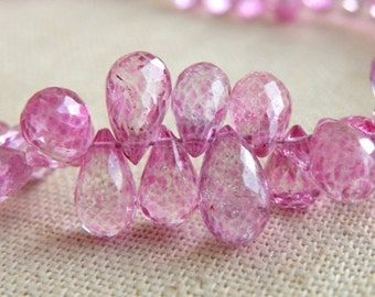 Mystic Pink Topaz Gemstone Briolette Faceted Teardrop 9 to 9.5 mm 7 beads