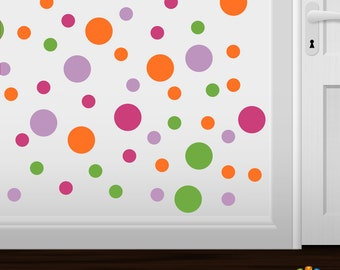 Set of 60 - Hot Pink / Lime Green / Orange / Lilac Circles Vinyl Wall Graphic Decals Stickers shapes polka dots round