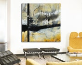Abstract painting, original painting, Black yellow Painting, Large Painting, Original Painting, square painting, modern painting, office art