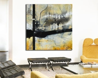 Black and yellow Abstract Painting Large Black&White Painting, Original Painting, square painting, White painting, gold abstract art