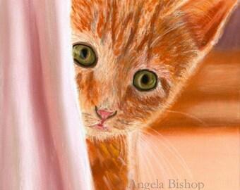 Cat Painting Print, Can You See Me, Cat Print, Art Print, Orange, Cat, Pet, Portrait, 8 x 10, Realism, Giclee, Pastel, Painting, Fine Art