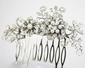 Bridal Hair Comb Crystal Wedding Comb Flower Side Comb Ivory White Pearl Crystal  Rhinestone Wedding Hair Accessories,  SABINE