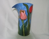 Whimsical colorful Tulip Motif Free Formed Tall Round Ceramic Decorator Art Vase on Etsy