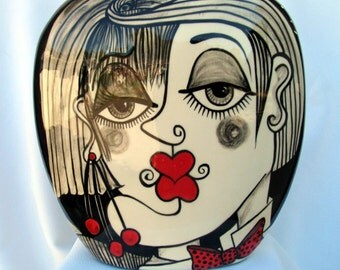 Square  Ceramic Clay Vase Pillow Shaped Picasso Style Lovers Faces Motif Black, White & Red Hand painted on Etsy