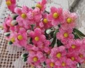 Czech Republic Velvet Forget Me Nots Millinery Fabric Flowers  Medium Pink