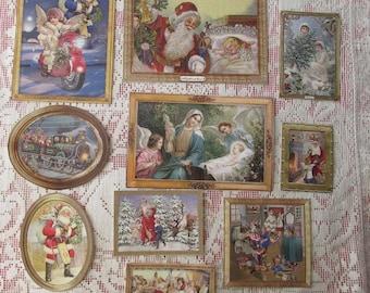 10 Germany Paper Scraps Victorian Style Christmas Scraps Santa E-10