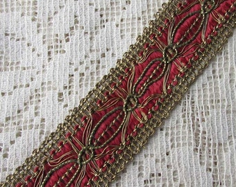 """1 Yard Vintage Metallic Trim Ribbon 1"""" Wide Ruby Red & Gold Very Fancy Old Store Stock OST 100"""
