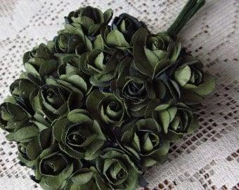 Paper Millinery Flowers 24 Petite Handmade Roses In Dark Green