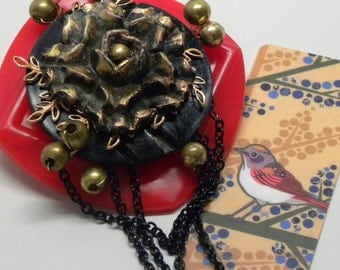 Vintage Red BAKELITE Buckle Pin Antique Black Celluloid Rose FLOWER Stacked BROOCH Love in Chains Valentine