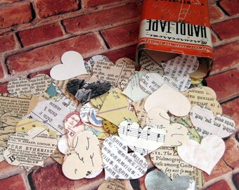 50 mixed paper hearts hand punched heart cutouts antique book pages photos maps music languages wallpaper postage stamp handwritten ledger