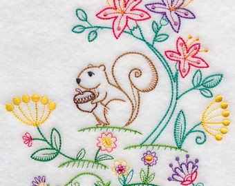 Squirrel Embroidered Vintage Look Flour Sack Kitchen Tea Towel
