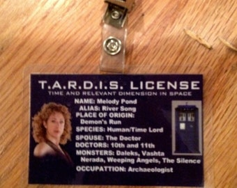 river song TARDIS license ID badge Doctor Who
