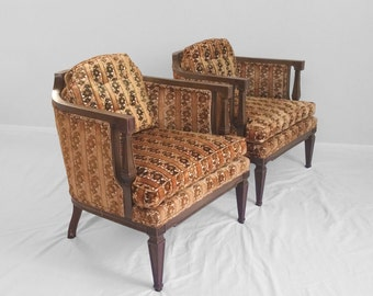 2 hollywood regency neoclassical funky floral accent chairs