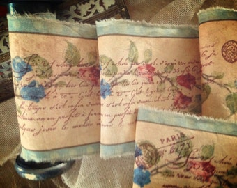LAST 3 - Distressed Hand Stamped  Trim  - Romantic French Scrpt