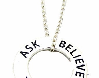 """Inspirational Jewelry """"Ask Believe Receive"""" Sterling Silver Affirmation Ring Necklace 18"""", Law of Attraction Jewelry"""