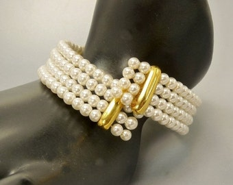 Vintage 4 Row Memory Wire Pearl Bracelet Wedding Bridal Jewelry