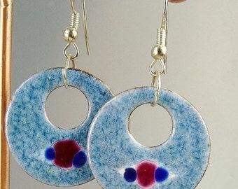 Vintage Mid Century Blue Enamel On Copper Pierced Earrings