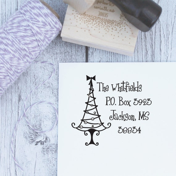 Custom Christmas Stamp - Grinch Christmas Tree, Holiday Stamp, Wood Stamp, Rubber Stamp, Self Inking Stamp, Dr Seuss, Funky Christmas Tree