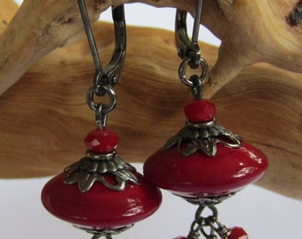 Ruby Red Lampwork Earrings