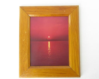 Vintage 70s Framed Photograph Print // Sunset on the Water