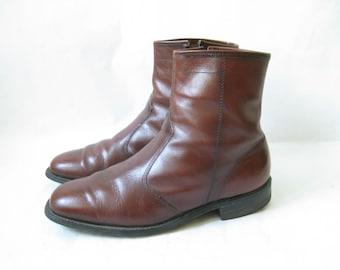 Vintage Brown Leather Zip Beatle Boots. Size 9 Men's