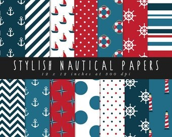 Nautical papers digital paper sale digital paper nautical commercial use 12 x 12 inch anchor stripes polka dots chevron boat red blue