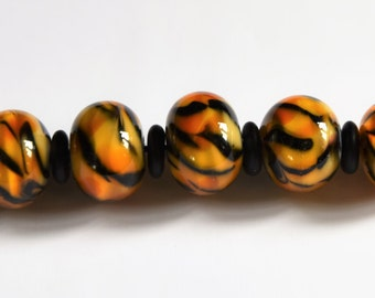 7 Tiger Beads - Lampwork Glass