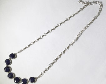Sapphire Statement Necklace Sterling Silver Precious Gemstone Necklace Genuine Sapphire Necklace Blue Sapphire BZ-N-109-Sapph/s