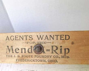 Antique 1900 Vintage Primitive Wooden Mend A Rip Harness Repair Advertising Vise, Clamp, Agents Wanted, Foote Foundry,  Fredericktown, OH