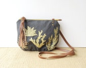 date purse  • crossbody bag - cactus • metallic gold - cactus and succulent print - slate gray canvas - screenprinted • native