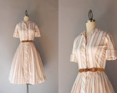 1950s Shirtwaist Dress / Vintage 50s Striped Cotton Day Dress / Full Skirt Fifties Pleated Dress
