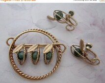 SALE vintage signed AMCO hallmark 1/20 14K Gf gold filled demi parure seed pods brooch & earrings set - j5745