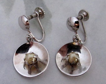 sterling silver 925 vintage screw back earrings with pearl - j5959