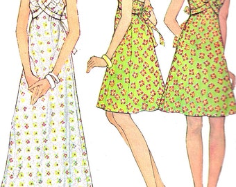 1970s Dress Pattern Sundress Halter Open Back Long Short McCall's Vintage Sewing Women's Misses Size 12 Bust 34 Inches