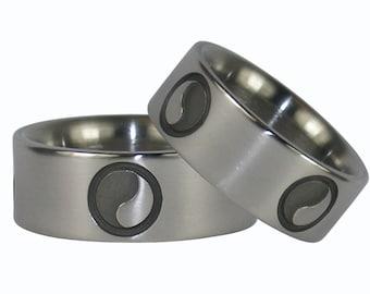 Yin and Yang Titanium Ring Set