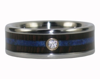 Diamond Titanium Wedding Ring with Dark Wenge Wood and Blue Lapis