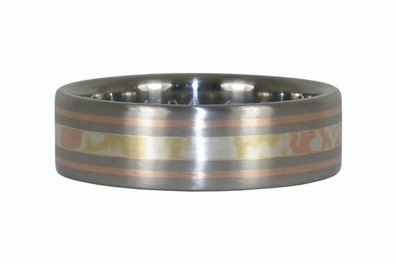 Mokumegane Inlay Titanium Ring with Rose Gold
