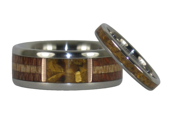 Gold Tigers Eye and Hawaiian Wood Ring Set with Stack Ring to Match Stone