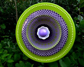 Purple and Green Hand Painted Glass Garden Flower Plate