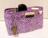 Quilted Purse Organizer Insert With Enclosed Bottom Large - Lavender and White Floral Burst