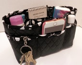 """Purse Organizer Insert/4"""" Depth Enclosed Bottom/Quilted/ Black and White"""