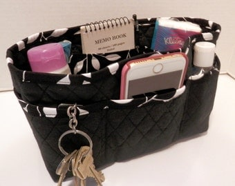 "Purse Organizer Insert/4"" Depth Enclosed Bottom/Quilted/ Black and White"