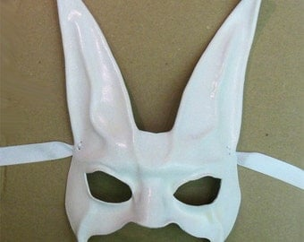 White Bunny Rabbit Leather Mask  very lightweight yet sturdy